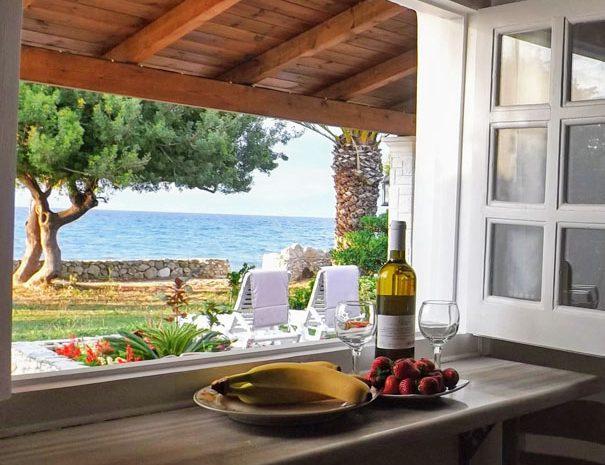 Studio kitchen view of Psaras Bay, Corfu